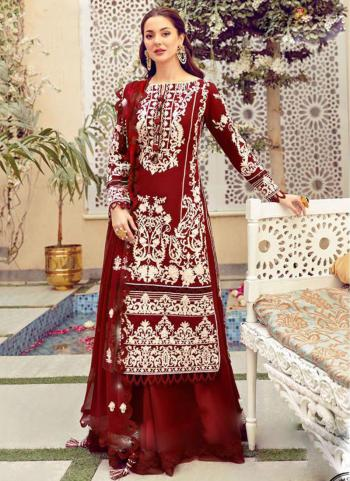 Festival Wear Red Embroidery Work Heavy Cotton Pakistani Suit