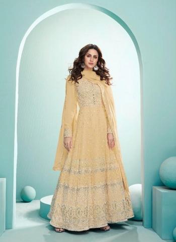 Wedding Wear Beige Embroidery Work Real Georgette Anarkali Suit