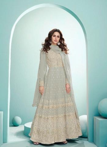 Wedding Wear Grey Embroidery Work Real Georgette Anarkali Suit