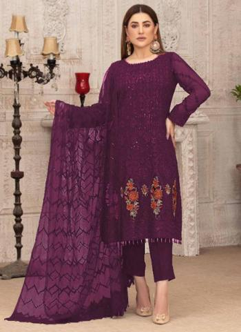 Party Wear Purple Embroidery Work Georgette Pakistani Suit