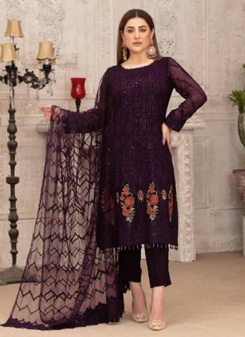 Party Wear Wine Embroidery Work Georgette Pakistani Suit