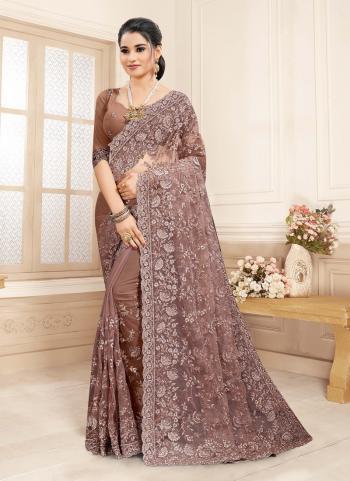 Wedding Wear Brown Embroidery Work Net Saree