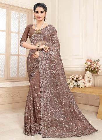 Wedding Wear Brown Zarkan Work Net Saree