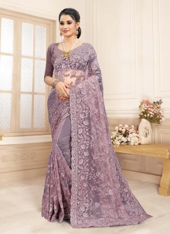 Wedding Wear Dusty Lavender Zarkan Work Net Saree