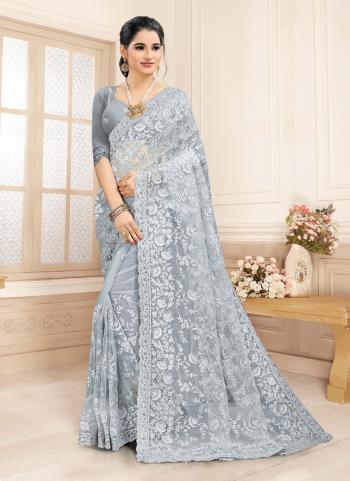Wedding Wear Grey Embroidery Work Net Saree