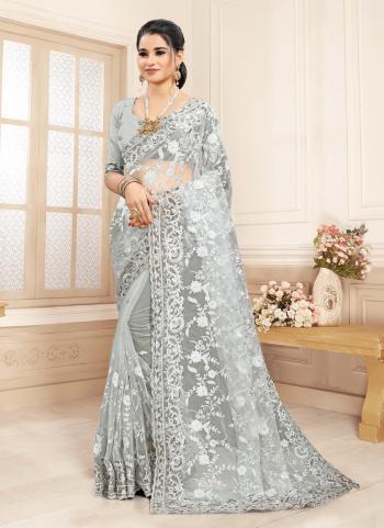 Wedding Wear Grey Stone Work Net Saree