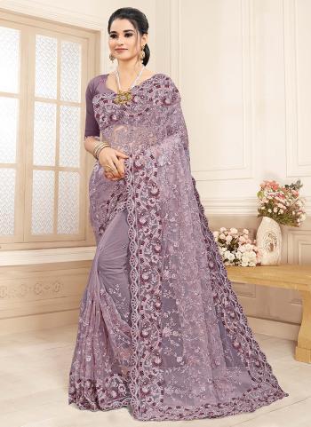 Wedding Wear Purple Zarkan Work Net Saree