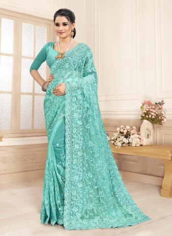 Wedding Wear Sky Blue Embroidery Work Net Saree