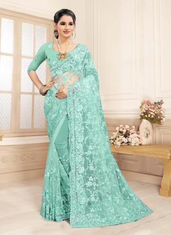 Wedding Wear Sky Blue Stone Work Net Saree
