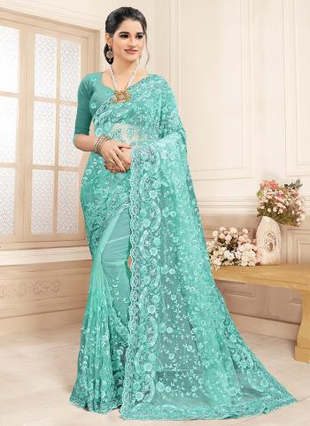 Wedding Wear Sky Blue Zarkan Work Net Saree