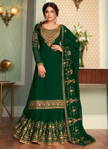 Traditional Wear Green Embroidery Work Real Georgette Lehenga Suit