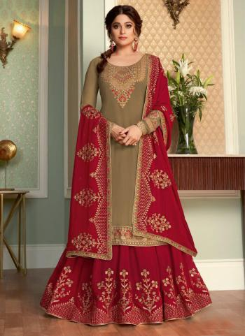 Traditional Wear Grey Embroidery Work Real Georgette Lehenga Suit