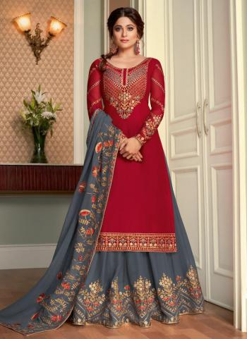 Traditional Wear Violet Embroidery Work Real Georgette Lehenga Suit