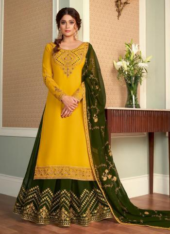 Traditional Wear Yellow Embroidery Work Real Georgette Lehenga Suit