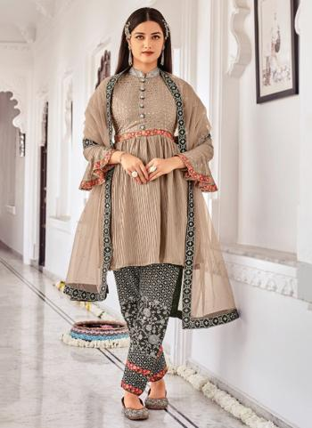 Traditional Wear Brown Embroidery Work Chinnon Salwar Suit