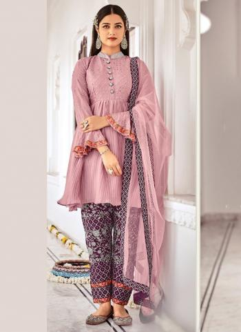 Traditional Wear Light Pink Embroidery Work Chinnon Salwar Suit