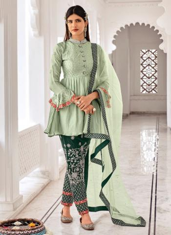 Traditional Wear Light green Embroidery Work Chinnon Salwar Suit