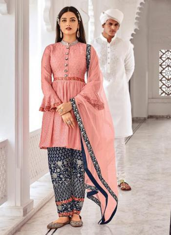 Traditional Wear Pink Embroidery Work Chinnon Salwar Suit