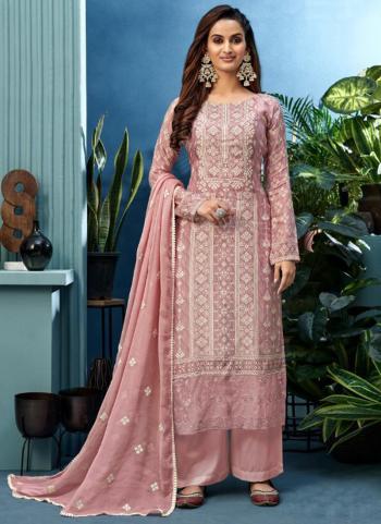 Festival Wear Pink Khatli Work Pure Muslin Palazzo Suit