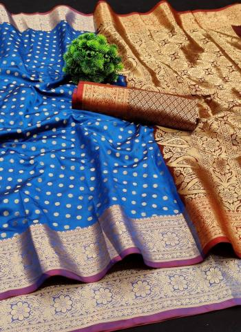 Festival Wear Blue Weaving Lichi Silk Saree