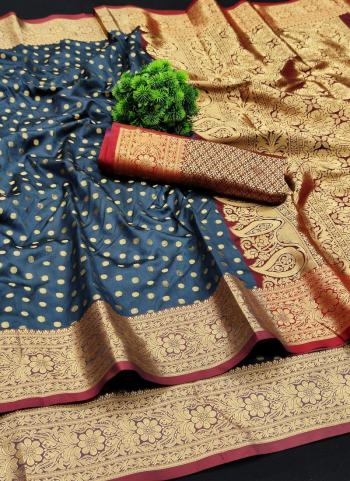 Festival Wear Grey Weaving Lichi Silk Saree