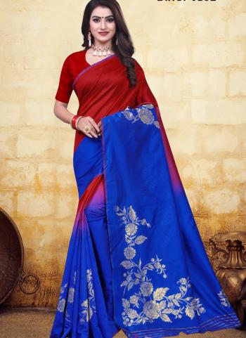 Festival Wear Blue Jacquard Banarasi Saree