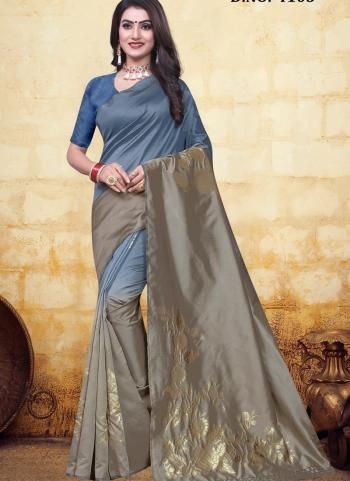 Festival Wear Grey Jacquard Banarasi Saree