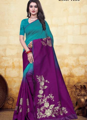 Festival Wear Purple Jacquard Banarasi Saree