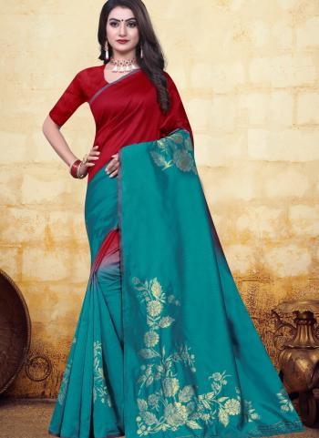 Festival Wear Teal Blue Jacquard Banarasi Saree