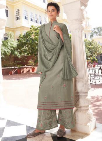 Party Wear Light Grey Embroidery Work Modal Viscose Readymade Palazzo Suit