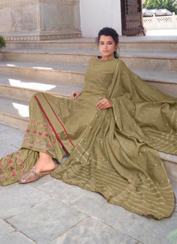 Party Wear Olive Green Embroidery Work Modal Viscose Readymade Palazzo Suit