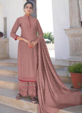 Party Wear Pink Embroidery Work Modal Viscose Readymade Palazzo Suit