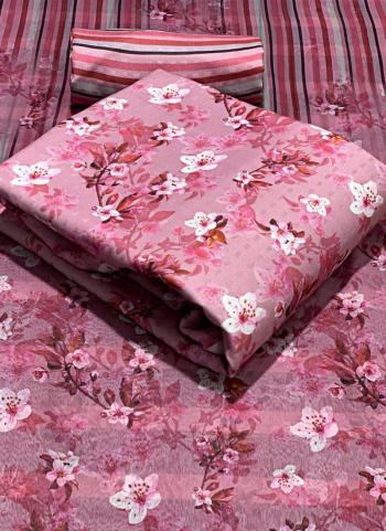 Casual Wear Pink Printed Work Pashmina Dress Material
