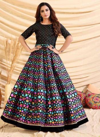 Festival Wear Black Foil Printed Tapeta Silk Gown With Dupatta