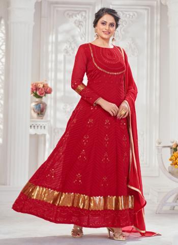Wedding Wear Red Embroidery Work Georgette Anarkali Suit