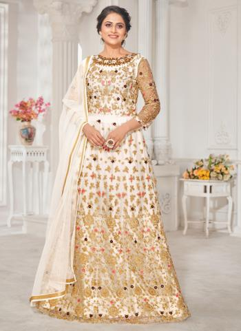 Wedding Wear White Embroidery Work Georgette Anarkali Suit