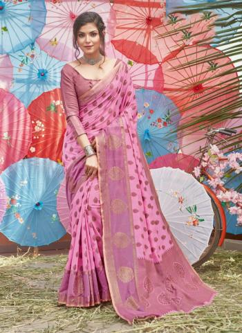 Traditional Wear Pink Handloom Cotton Saree