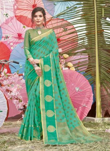 Traditional Wear Teal Green Handloom Cotton Saree