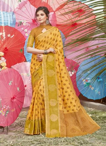 Traditional Wear Yellow Handloom Cotton Saree