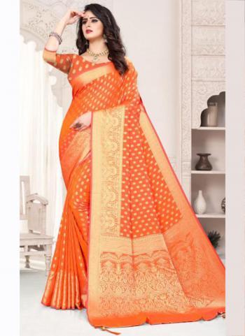 Traditional Wear Orange Weaving Silk Saree