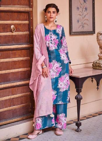 Traditional Wear Blue Digital Printed Corchet Readymade Salwar Suit