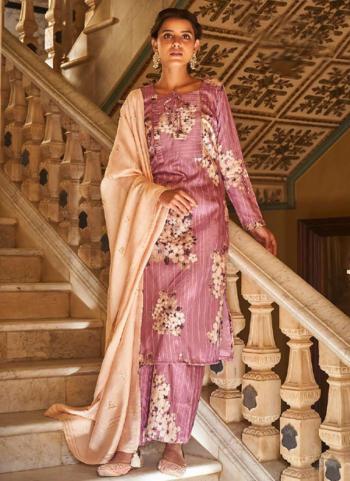 Traditional Wear Pink Digital Printed Corchet Readymade Salwar Suit