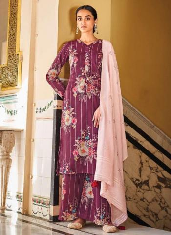 Traditional Wear Purple Digital Printed Corchet Readymade Salwar Suit