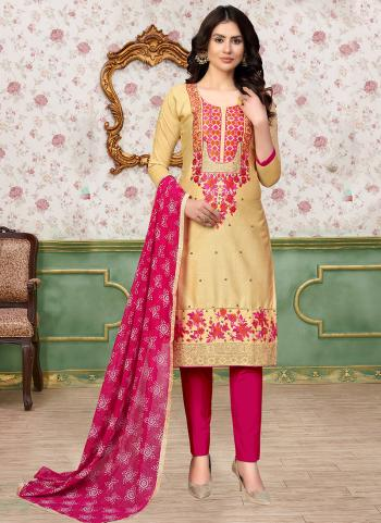 Daily Wear Beige Embroidery Work Glace Cotton Churidar Suit