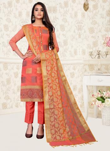 Casual Wear Peach Weaving Banarasi Jacquard Churidar Suit
