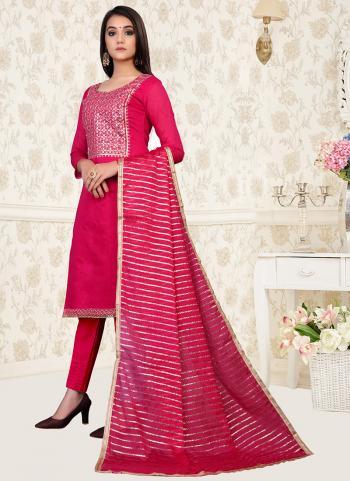 Daily Wear Pink Hand Work Modal Chanderi Churidar Suit