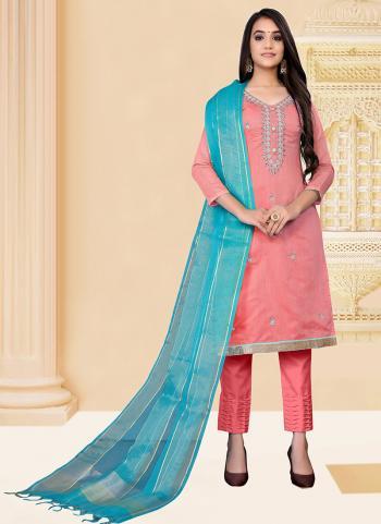 Regular Wear Pink Hand Work Modal Chanderi Churidar Suit