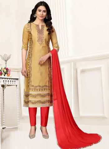 Casual Wear Beige Multi Work Glace Cotton Churidar Suit