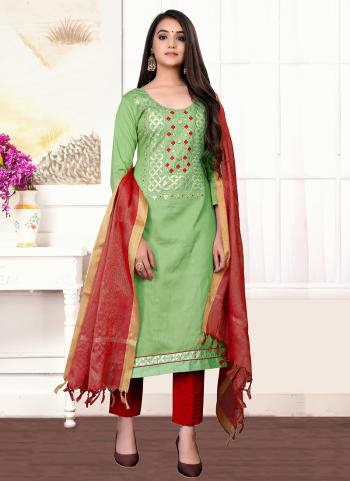 Daily Wear Green Hand Work Glace Cotton Churidar Suit