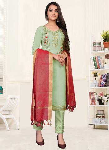 Festival Wear Light pista green Embroidery Work Modal Chanderi Churidar Suit